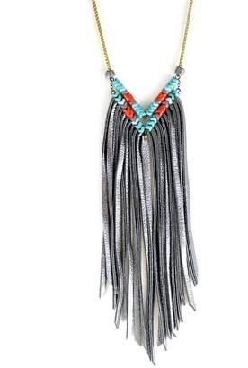 Astali Snake Glass & Leather Fringe Necklace