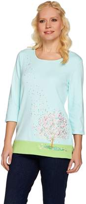 Factory Quacker Cherry Blossom Embroidered 3/4 Sleeve T-shirt