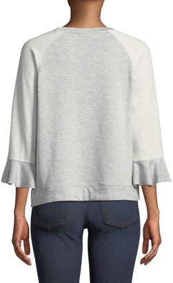 Bobeau Martha Ruffle-Sleeve Sweatshirt