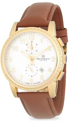 Bruno Magli Men's Round Chronograph Leather-Strap Watch