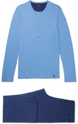 Hanro Owen Cotton-Jersey Pyjama Set - Men - Blue