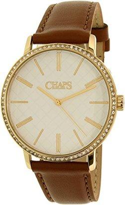 Chaps レディースWhitney chp1001ブラウンレザークォーツ腕時計