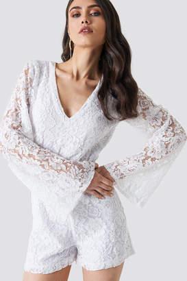 Na Kd Boho Flared Sleeve Lace Playsuit White