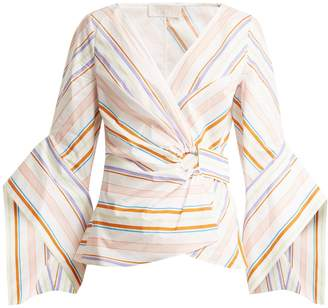 Peter Pilotto Striped bell-sleeve cotton top