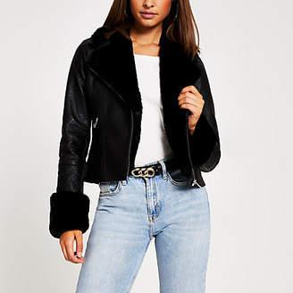 River Island Black faux fur cuff quilted biker jacket