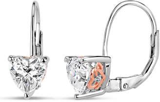 Swarovski FINE JEWELRY Sterling Silver Two-Tone Heart Filigree Sides Leverback Earrings featuring Zirconia