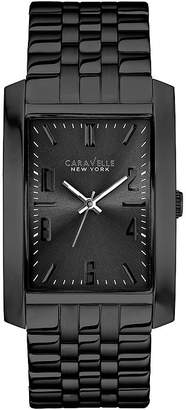 JCPenney CARAVELLE, NEW YORK Caravelle New York Mens Rectangle Case Black Ion Stainless Steel Watch 45A117