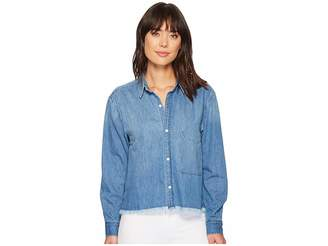 7 For All Mankind Cut Off Denim Shirt Women's T Shirt