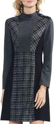 Vince Camuto Glen-Plaid Mixed-Media Dress