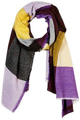Under Zero Women's Purple Yellow Grid Acrylic Blanket Scarf Shawl