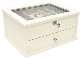 GUNTHER MELE Lili Glass Lid Ivory Jewellery Box