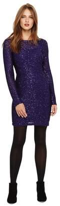 Phase Eight Purple Juana Sequin Shift Knit Dress