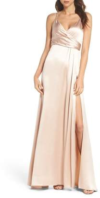 Jill Stuart Faux Wrap Satin Gown