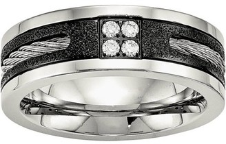 Primal Steel Stainless Steel Polished Laser Cut Blk IP Wire Inlay CZ Band