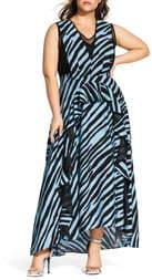 City Chic Blue Zebra Maxi Dress