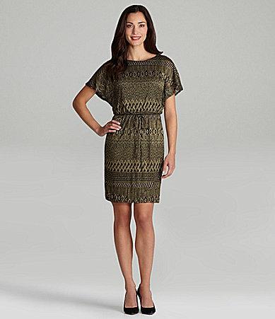 London Times Woman Metallic Tribal-Print Dress