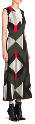 Fendi Double-Face Wool & Silk Illusion V-Neck Midi Dress
