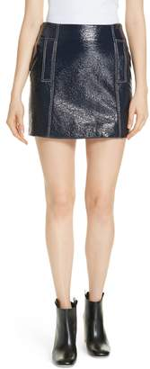 BA&SH Vara Crinkle Faux Patent Leather Miniskirt