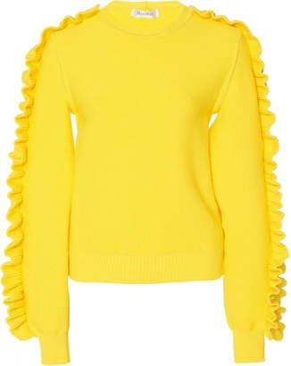 Max Mara Nido Ruffled Crepe Knit Sweater