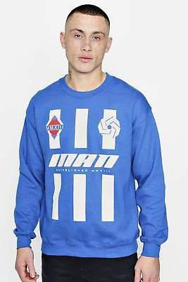 boohoo NEW Mens MAN Stripe Sweater in Cotton