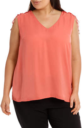 Bruised Poly Ruch Shoulder Top