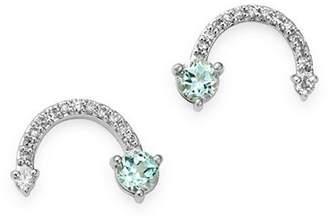 Adina Sterling Silver Blue Topaz & Diamond Rainbow-Shaped Stud Earrings