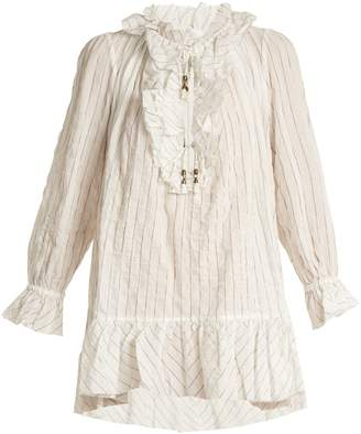 Zimmermann Corsair ruffled pinstriped cotton-blend blouse