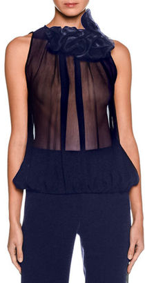 Giorgio Armani Ruffled-Collar Sleeveless Blouse $1,895 thestylecure.com