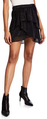 IRO Huge Tiered Metallic Short Skirt