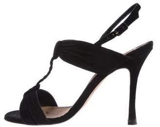 Manolo Blahnik Suede Ruched Sandals