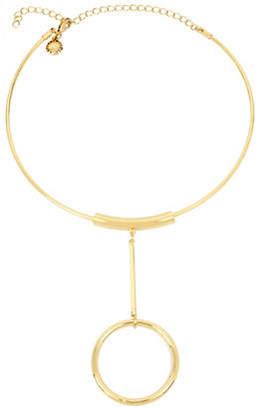 BCBGeneration NeoGeo Circle Drop Pendant Choker Necklace