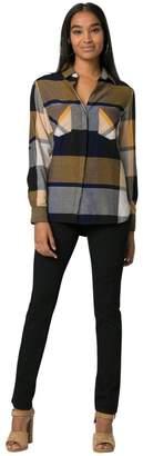 Le Château Women's Cotton Check Button-Down Shirt,M