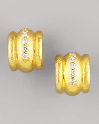 Elizabeth Locke Amalfi Diamond 19k Gold Huggie Earrings