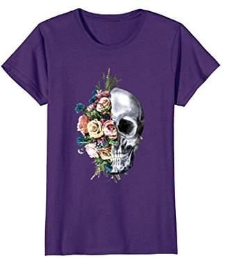 Womens Flower Skull T-Shirt Sugar Roses for Women Girls Halloween