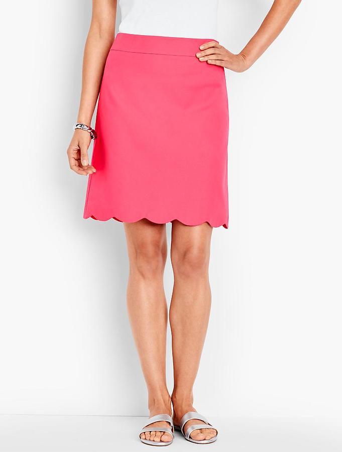Scalloped-Hem Canvas Skirt