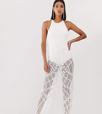 Starlet halter neck sheer embellished jumpsuit in white silver
