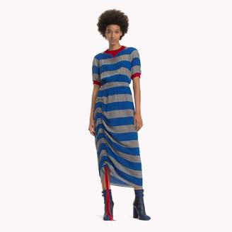 Tommy Hilfiger Ruched Silk Rugby Stripe Dress
