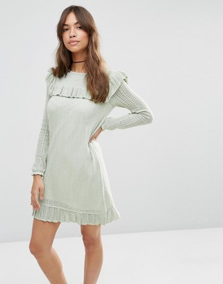 ASOS Dress in Pointelle Stitch with Ruffle Detail $73 thestylecure.com