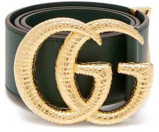 Gucci Gg Snakeskin Effect Logo Wide Leather Belt - Womens - Green