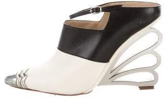 Nicholas Kirkwood Leather Pointed-Toe Wedges