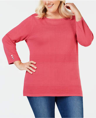 Karen Scott Plus Size Cotton Pointelle Sweater
