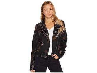 7 For All Mankind Moto Jacket w/ Studs in Print on Noir Women's Coat