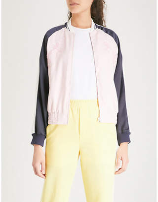 Mo&Co. Embroidered satin jacket