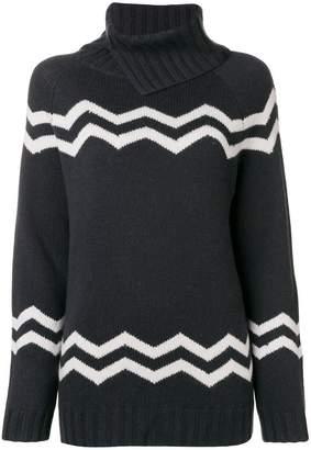 Hemisphere zig-zag turtleneck sweater