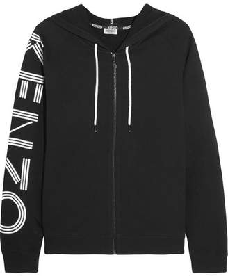 KENZO - Printed Cotton-jersey Hooded Top - Black $380 thestylecure.com