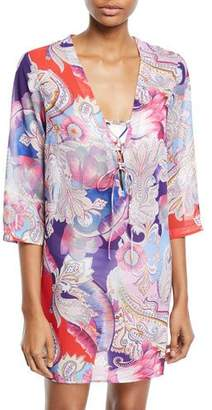 Gottex Kashmir Printed Lace-Up Coverup Tunic