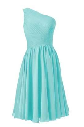 Tiffany & Co. DaisyFormals® Vintage Party Dress One-Shoulder Short Bridesmaid Dress (BM351 Blue