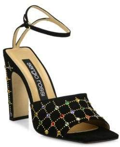 Sergio Rossi Jeweled Suede Ankle-Strap Sandals