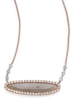 Meira T Labradorite, Diamond& 14K Rose Gold Oval Pendant Necklace