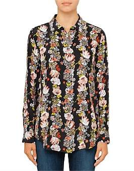 Equipment Botanical Garland Printed Reverse Satin Shirt